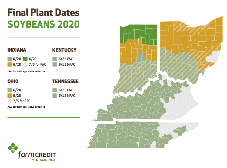 Final Plant Dates, Soybeans 2020: Indiana and Ohio, June 20; Kentucky and Tennessee, June 15 for FAC or June 25 for NFAC